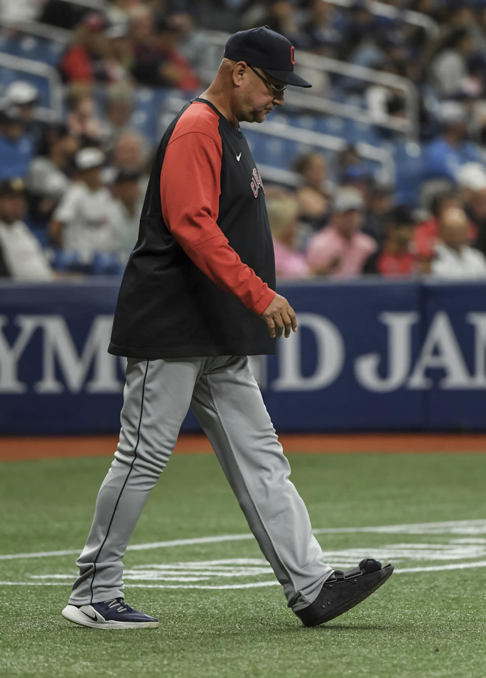 Cleveland Indians manager Terry Francona walks to the mound to make a pitching change during the fifth inning against the Tampa Bay Rays in the second baseball game of a doubleheader Wednesday, July 7, 2021, in St. Petersburg, Fla.(AP Photo/Steve Nesius)