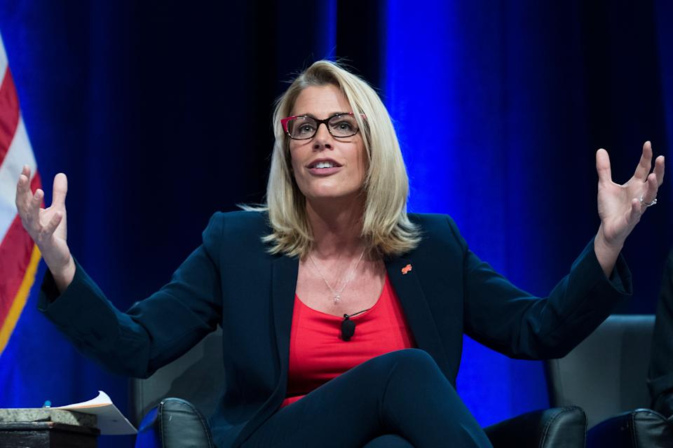 Sara Nelson, president of the Association of Flight Attendants (AFA-CWA) rose to prominence last year when she called for a general strike to end the longest government shutdown in history. (Photo: Tom Williams via Getty Images)