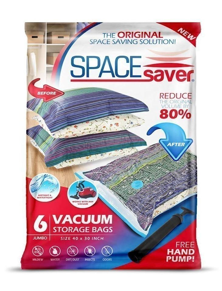 """<p>If you're looking for the ultimate space saver, get this pack of <a href=""""https://www.popsugar.com/buy/Premium-Vacuum-Storage-Bags-114604?p_name=Premium%20Vacuum%20Storage%20Bags&retailer=amazon.com&pid=114604&price=30&evar1=moms%3Aus&evar9=44525748&evar98=https%3A%2F%2Fwww.popsugar.com%2Ffamily%2Fphoto-gallery%2F44525748%2Fimage%2F44525749%2FSpaceSaver-Premium-Vacuum-Storage-Bags&list1=shopping%2Camazon%2Corganization%2Cclosets%2Ccloset%20organization%2Csmall%20space%20living&prop13=api&pdata=1"""" rel=""""nofollow"""" data-shoppable-link=""""1"""" target=""""_blank"""" class=""""ga-track"""" data-ga-category=""""Related"""" data-ga-label=""""https://www.amazon.com/SpaceSaver-PremiumJUMBO-Double-Zip-Turbo-Valve-Compression/dp/B00X8KSKF6/ref=sr_1_1_sspa?ie=UTF8&amp;qid=1516836724&amp;sr=8-1-spons&amp;keywords=clothes+storage+bags&amp;psc=1"""" data-ga-action=""""In-Line Links"""">Premium Vacuum Storage Bags </a> ($30). It has over 7,00 positive reviews on Amazon and is easy for storing under beds. You vacuum out the air and it deflates into a small layer that is easy to store. </p>"""