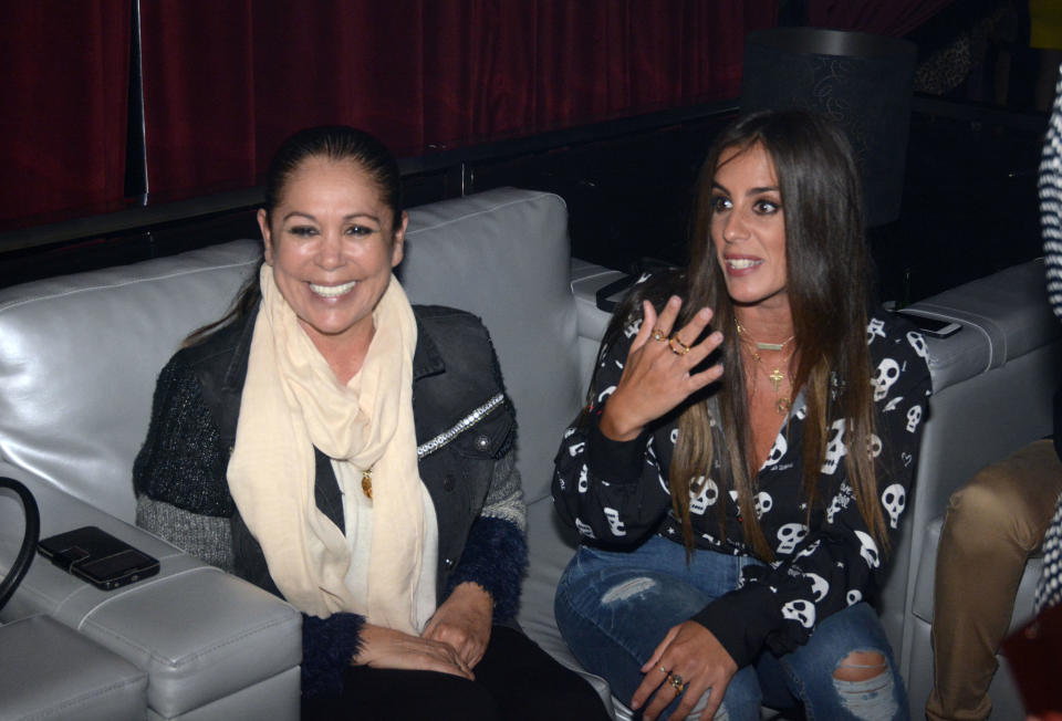 Isabel Pantoja and Anabel Pantoja (R) attend Kiko Rivera's concert on April 6, 2018 in Seville, Spain.
