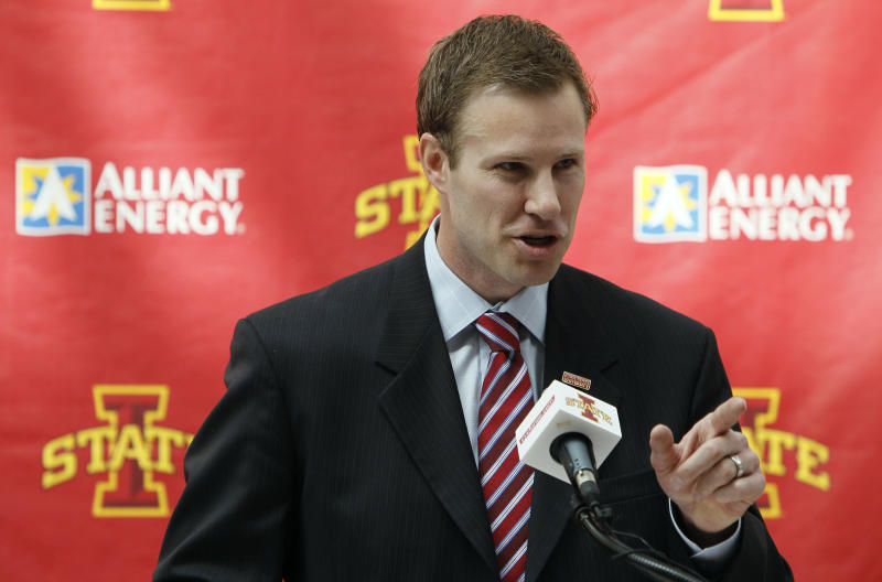 FILE - This April 28, 2010, file photo shows Iowa State University's basketball coach Fred Hoiberg speaks during a news conference, in Ames, Iowa. Hoiberg has just three returning players to work with. The rest of this year's Cyclones are freshmen, transfers and an older guard from Northern Illinois who's using up his final year of eligibility in Ames. (AP Photo/Charlie Neibergall, File)