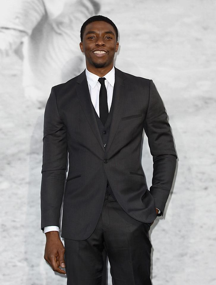 "HOLLYWOOD, CA - APRIL 09:  Actor Chadwick Boseman attends the Los Angeles Premiere of Warner Bros. Pictures' and Legendary Pictures' ""42"" at TCL Chinese Theatre on April 9, 2013 in Hollywood, California.  (Photo by Kevin Winter/Getty Images)"