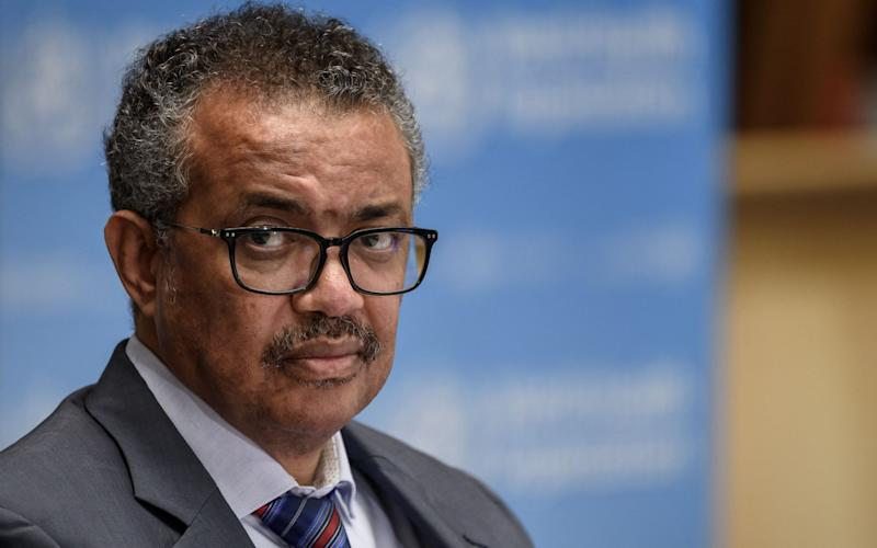 WHO director-general Dr Tedros Adhanom Ghebreyesus, pictured over the weekend at a World Health Organisation press conference in Geneva. - Fabrice Coffrini/EPA-EFE/Shutterstock