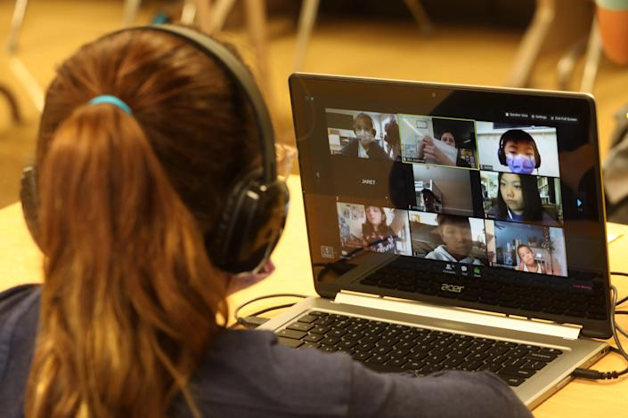 Student Brielle Cohan-Hadria, participates in a Zoom lesson from a class overseen by teachers with the YMCA at the Anza Elementary School campus in Torrance on September 17, 2020.  (Genaro Molina / Los Angeles Times via Getty Images)