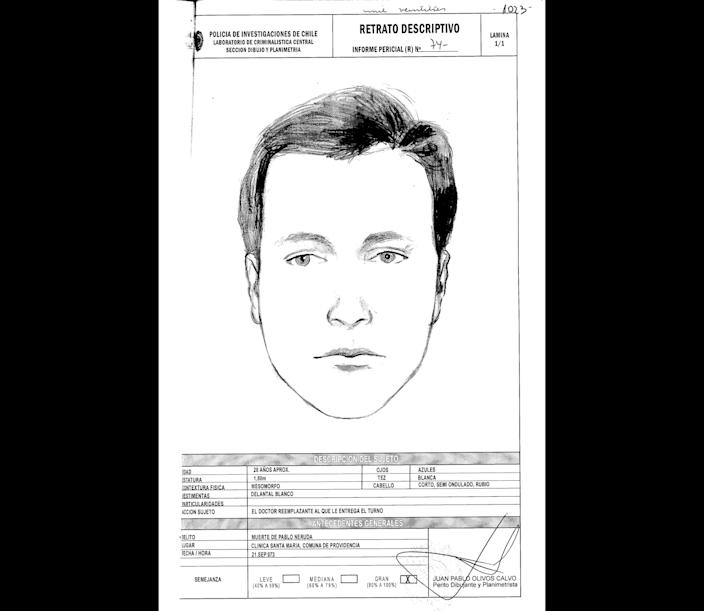 """This drawing done by Chile's police and released by Communist Party attorney Eduardo Contreras on Monday, June 3, 2013, shows a representation of the face of Dr. Price, who allegedly attended Pablo Neruda at the hospital when he died forty years ago. Judge Mario Carroza is formally investigating the cause of death of the Nobel Prize-winning poet Pablo Neruda. A judge ordered the police sketch based on the collections of Dr. Sergio Draper, a key witness who attended Neruda at the hospital. Draper said in the 1970s that he was at Neruda's side when he died. But Draper recently told the judge a different story — that a """"Dr. Price"""" took over Neruda's care just before he died, and disappeared shortly thereafter. The police notes below the sketch describe the subject as about 28 years old, with blue eyes, white skin and short blonde. (AP Photo/Chile Police)"""