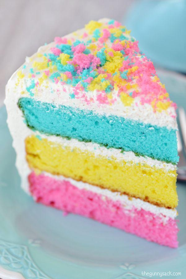 """<p>All spring colors accounted for.</p><p>Get the recipe from <a href=""""http://www.thegunnysack.com/easter-cake-recipe/"""" rel=""""nofollow noopener"""" target=""""_blank"""" data-ylk=""""slk:The Gunny Sack"""" class=""""link rapid-noclick-resp"""">The Gunny Sack</a>.</p>"""