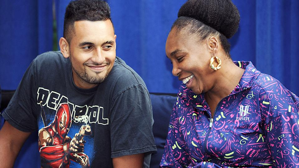 Nick Kyrgios and Venus Williams, pictured here at the 2018 Palace Invitational Badminton Tournament.