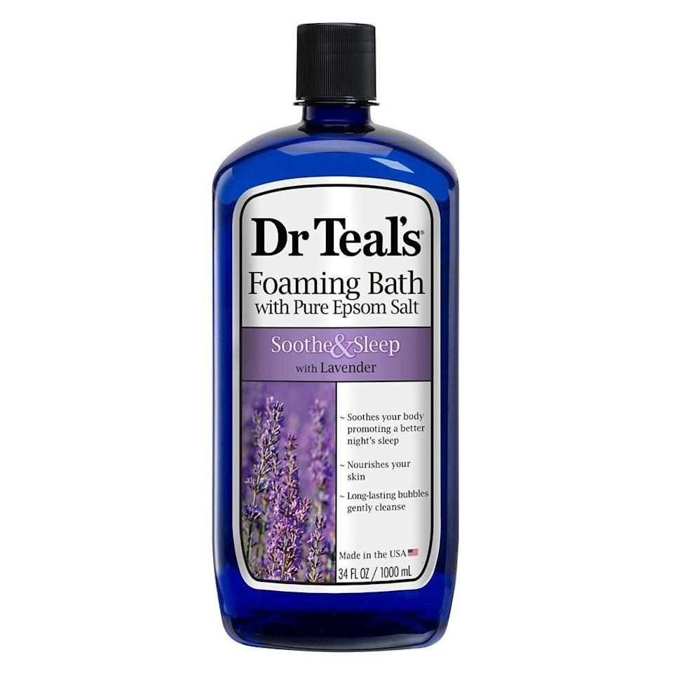 "<p><strong>Dr Teal's</strong></p><p>amazon.com</p><p><strong>$4.87</strong></p><p><a href=""https://www.amazon.com/dp/B0080D1Q52?tag=syn-yahoo-20&ascsubtag=%5Bartid%7C2089.g.678%5Bsrc%7Cyahoo-us"" rel=""nofollow noopener"" target=""_blank"" data-ylk=""slk:Shop Now"" class=""link rapid-noclick-resp"">Shop Now</a></p><p>Feeling tense from a tough workout or a stressful week? Dr. Teal's foaming bath is made with essential oils and muscle-soothing epsom salts, so you'll fall asleep easier, and wake up feeling refreshed. </p><p><strong>More: </strong><a href=""https://www.bestproducts.com/beauty/g115/natural-organic-body-washes-soaps/"" rel=""nofollow noopener"" target=""_blank"" data-ylk=""slk:Organic and Natural Body Washes Worth Switching To"" class=""link rapid-noclick-resp"">Organic and Natural Body Washes Worth Switching To</a></p>"