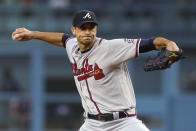 Atlanta Braves starting pitcher Charlie Morton throws during the first inning of the team's baseball game against the Los Angeles Dodgers on Tuesday, Aug. 31, 2021, in Los Angeles. (AP Photo/Marcio Jose Sanchez)