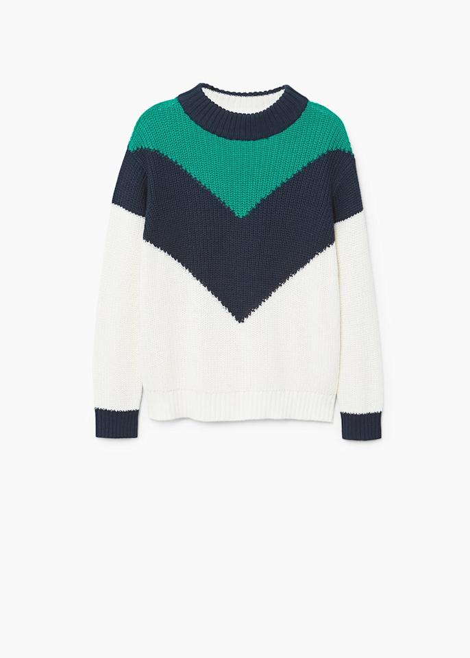 """<p>The go-to look for street style experts? A statement knit, boyfriend jeans and kitten heels. Yes, for an effortless look this season shop Mango's latest drop.<br /><br /><em><a rel=""""nofollow"""" href=""""https://shop.mango.com/gb/women/cardigans-and-sweaters-sweaters/contrasting-knit-sweater_13005699.html?c=05&n=1&s=prendas.familia;55,355"""">Mango</a>, £29.99</em> </p>"""