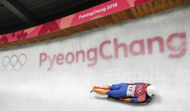 Pyeongchang 2018 Winter Olympics Skeleton - Pyeongchang 2018 Winter Olympics - Women's Finals - Olympic Sliding Centre - Pyeongchang, South Korea - February 17, 2018 - Kimberley Bos of Netherlands competes. REUTERS/Arnd Wiegmann