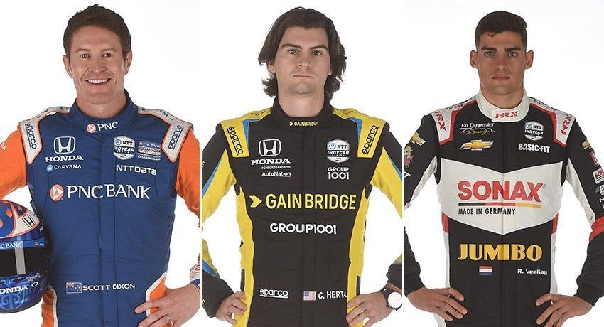 Scott Dixon (from left), Colton Herta and Rinus VeeKay, Row 1 for the 2021 Indianapolis 500.