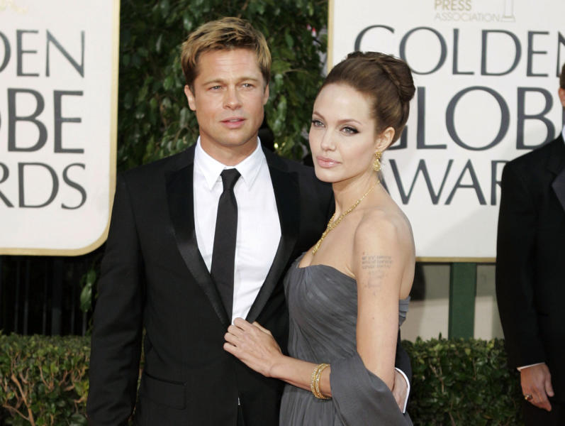FILE - In this Jan. 15, 2007 file photo, Brad Pitt, and actress Angelina Jolie arrive for the 64th Annual Golden Globe Awards in Beverly Hills, Calif. Angelina Jolie Pitt has filed for divorce from Brad Pitt, bringing an end to one of the world's most star-studded, tabloid-generating romances. An attorney for Jolie Pitt, Robert Offer, said Tuesday, Sept. 20, 2016, that she has filed for the dissolution of the marriage. (AP Photo/Mark J. Terrill, File)