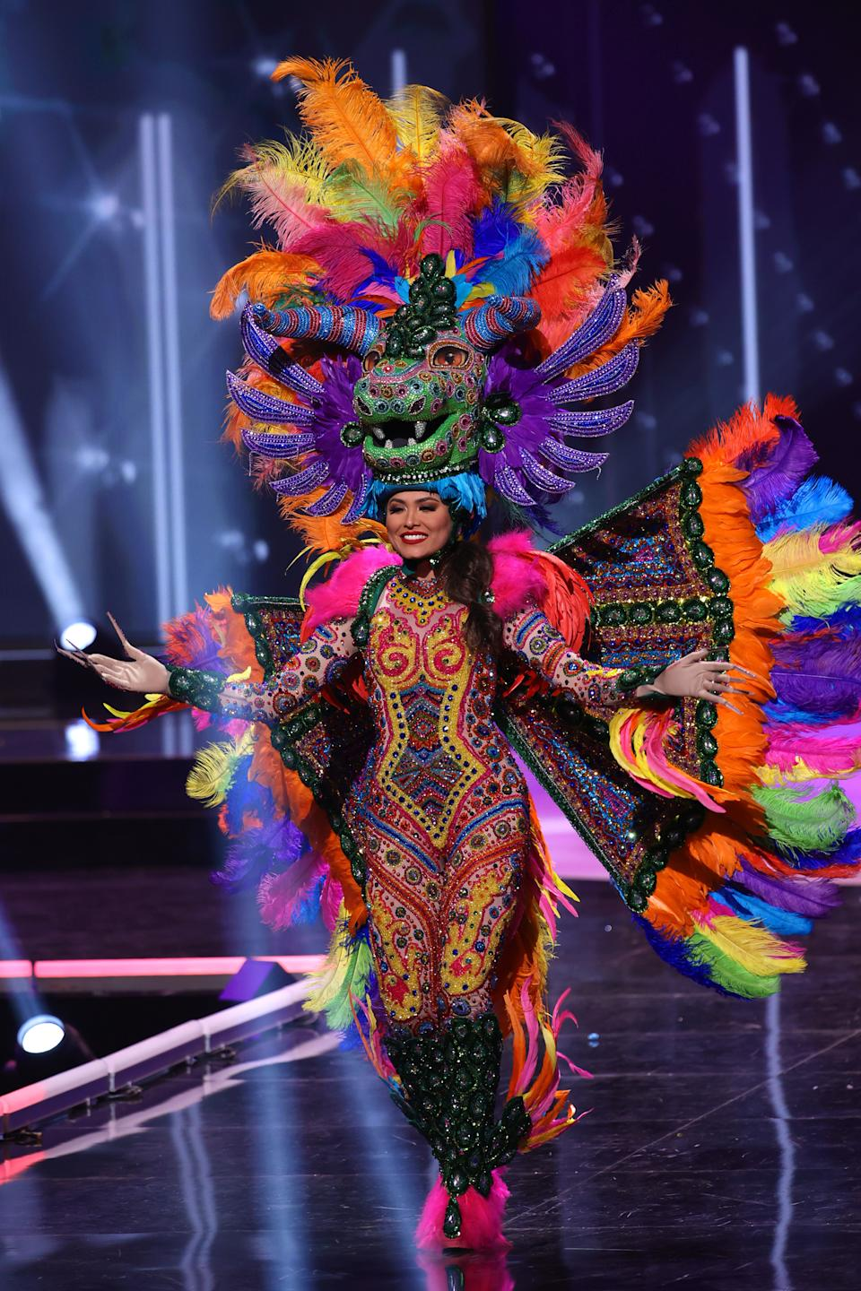<p>Miss Mexico Andrea Meza appears onstage at the Miss Universe 2021 - National Costume Show at Seminole Hard Rock Hotel & Casino on May 13, 2021 in Hollywood, Florida. (Photo by Rodrigo Varela/Getty Images)</p>