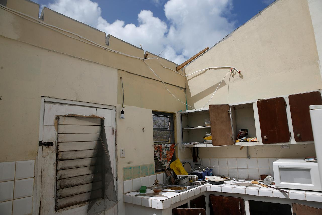 <p>A home is seen in ruins in Codrington on the island of Barbuda just after a month after Hurricane Irma struck the Caribbean islands of Antigua and Barbuda, October 7, 2017. REUTERS/Shannon Stapleton </p>