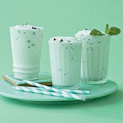 """<p>We jazzed up our Mint-Chocolate Chip Shake with a few drops of green coloring for a faint tint of color.</p> <p><a href=""""https://www.myrecipes.com/recipe/mint-chocolate-chip-shake"""">Mint-Chocolate Chip Shake Recipe</a></p>"""