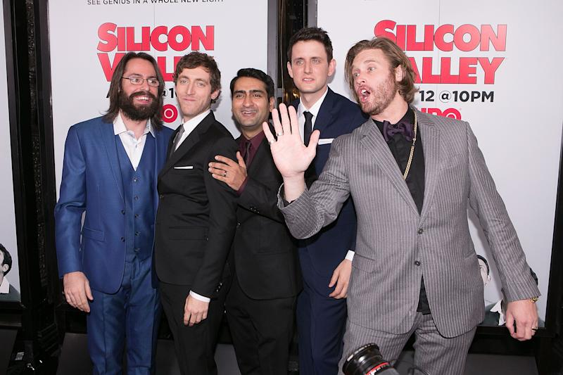 "HOLLYWOOD, CA - APRIL 02: (L-R) Actors Martin Starr, Thomas Middleditch, Kumail Nanjiani, Zach Woods and T. J. Miller arrive for the premiere of HBO's ""Silicon Valley"" 2nd Season - Arrivals at the El Capitan Theatre on April 2, 2015 in Hollywood, California. (Photo by Gabriel Olsen/Getty Images)"