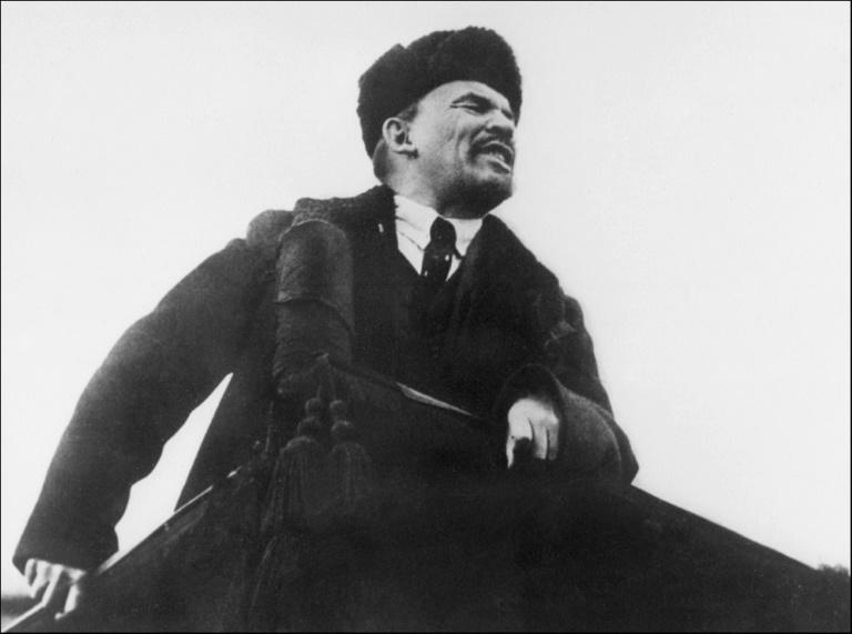 A statue of Vladimir Lenin (pictured addressing supporters in October 1918 in Moscow) is to be unveiled for the first time on territory of the former West Germany, decades after the Berlin Wall was torn down