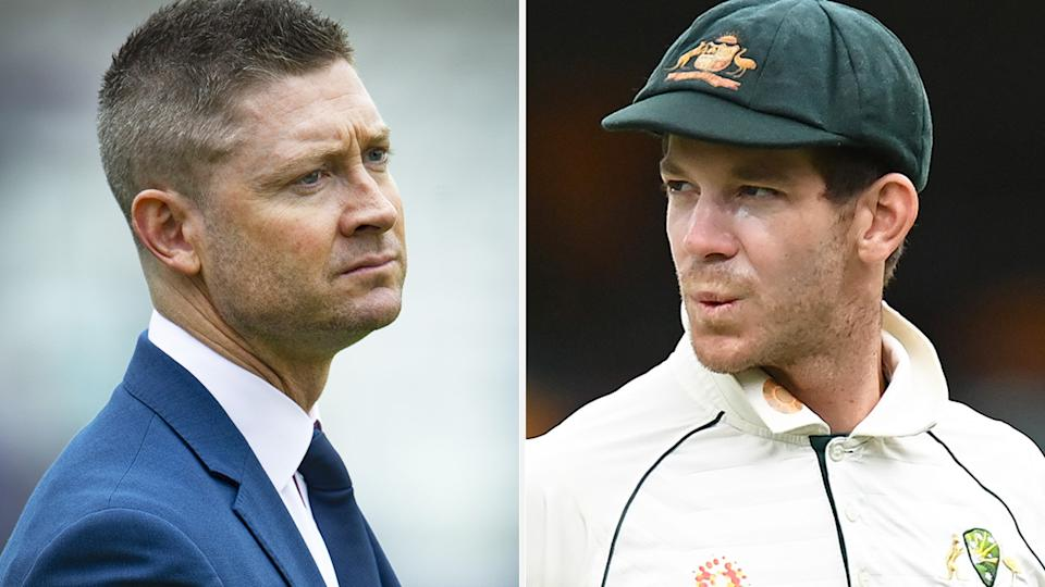 Michael Clarke has questioned the decision-making behind Australian selectors' choice to stand by Tim Paine as skipper. Pictures: Getty Images