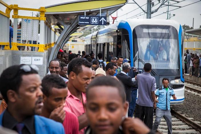 African leaders have long embraced Chinese investments, such as Sub-Sharan Africa's first modern tramway in Addis Ababa (AFP Photo/Mulugeta Ayene)