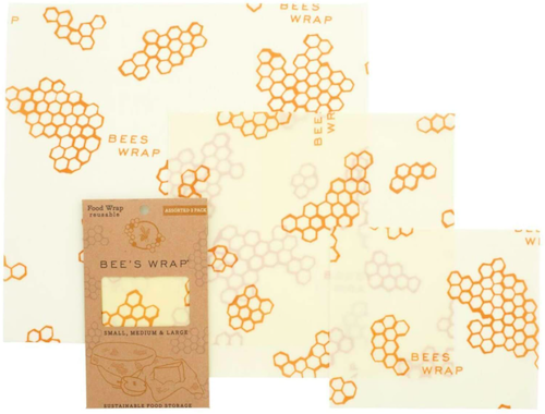 """<h2>Reusable Beeswax Wraps<br></h2><br>An excellent alternative to plastic wrap and Ziplock bags. This set of three wraps is made from ethically sourced, """"organic cotton infused with sustainably harvested beeswax, jojoba oil and tree resin,"""" and brought to you by woman-owned company in Vermont. <br><br><strong>Bee's Wrap</strong> Bee's Wrap – Assorted Set of 3, $, available at <a href=""""https://www.amazon.com/Bees-Wrap-Certified-Corporation-Sustainable/dp/B0126LMDFK"""" rel=""""nofollow noopener"""" target=""""_blank"""" data-ylk=""""slk:Amazon"""" class=""""link rapid-noclick-resp"""">Amazon</a>"""
