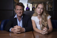 Sean Penn and Dylan Frances Penn poses for portrait photographs for the film 'Flag Day', at the 74th international film festival, Cannes, southern France, Saturday, July 10, 2021. (Photo by Vianney Le Caer/Invision/AP)