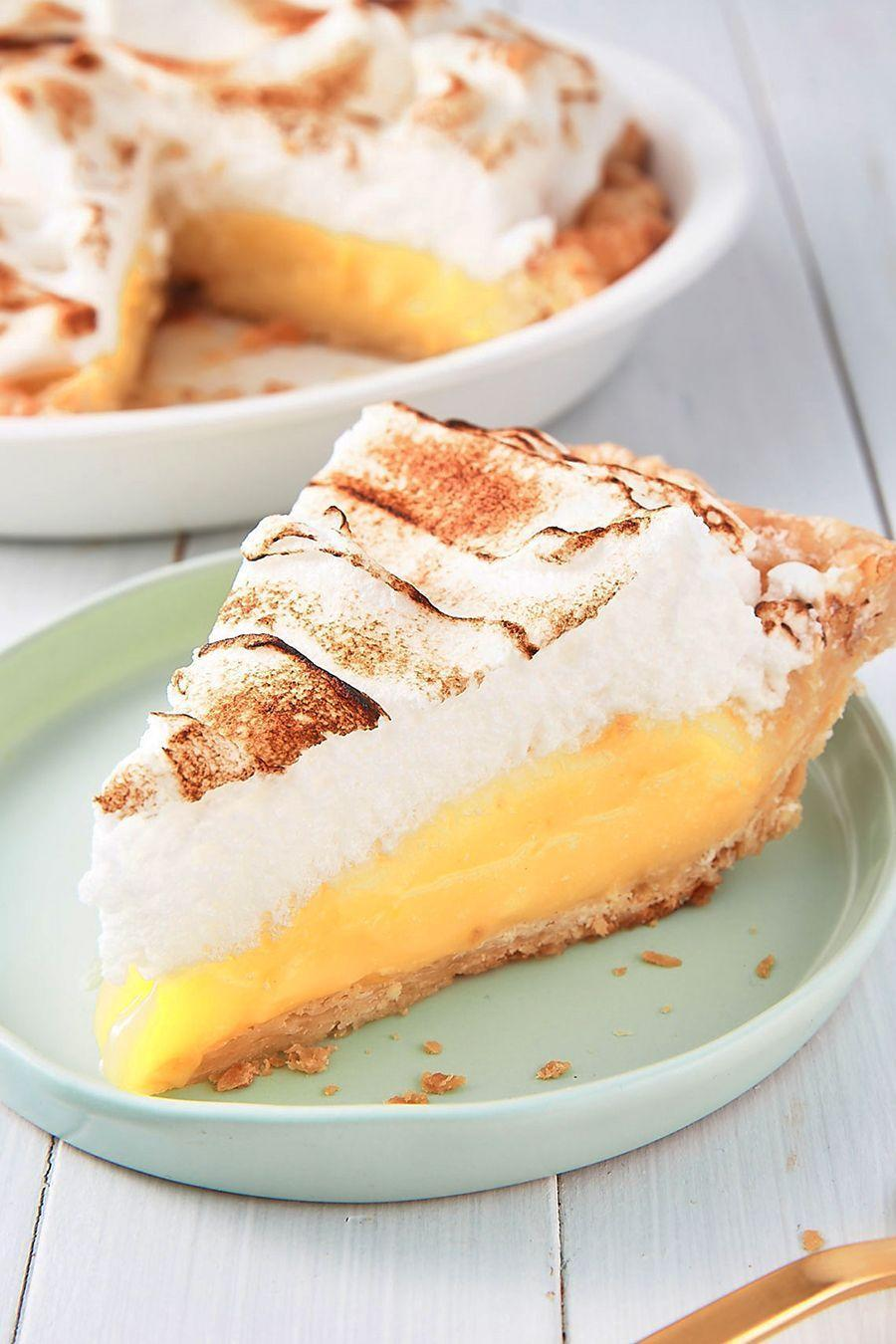 """<p>Trust us, the meringue is easier to make than you'd think. Have fun with it and give it some fun swoops and peaks with the back of a metal spoon. </p><p>Get the <a href=""""https://www.delish.com/uk/cooking/recipes/a32929704/lemon-meringue-pie-recipe/"""" rel=""""nofollow noopener"""" target=""""_blank"""" data-ylk=""""slk:Lemon Meringue Pie"""" class=""""link rapid-noclick-resp"""">Lemon Meringue Pie</a> recipe. </p>"""