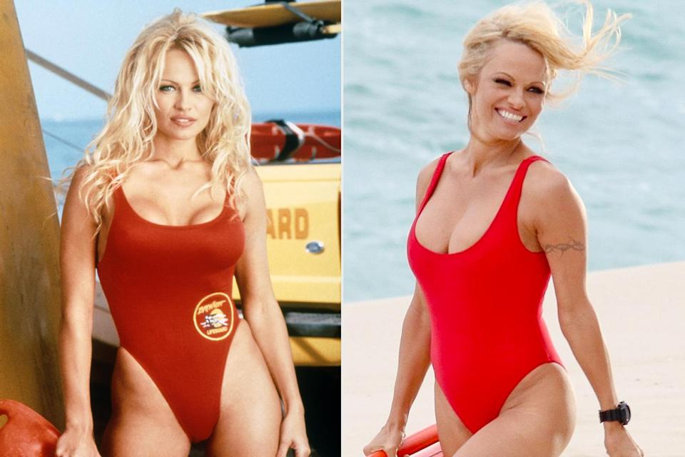 <p>Another <em>Baywatch</em> babe was all smiles in the legendary red swimsuit! Anderson beamed on the beach in a one-piece much like the one she wore during her lifeguard days as C.J. Parker, while filming a commercial in Brazil.</p>