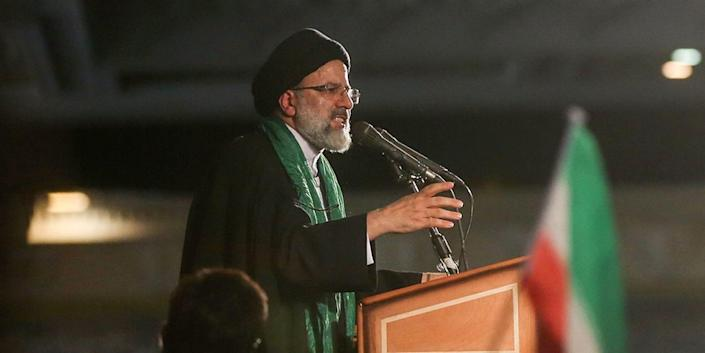 FILE PHOTO: Iranian Presidential candidate Ebrahim Raisi speaks during a campaign meeting at the Mosalla mosque in Tehran, Iran, May 16, 2017.  TIMA via REUTERS