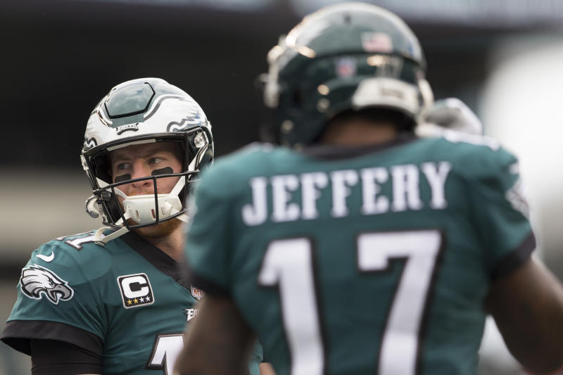 Carson Wentz #11 and Alshon Jeffery #17 of the Philadelphia Eagles