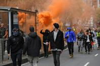 For hours protesters confronted police, ignoring loudspeaker calls to leave (AFP/William WEST)