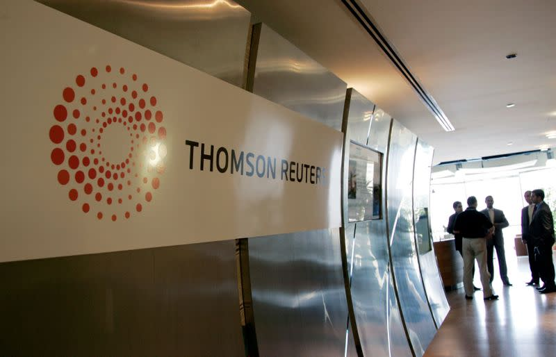 FILE PHOTO: Plaque with the new logo of Thomson Reuters adorns the entrance of the Dubai office