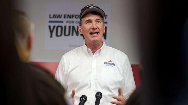 PHOTO: Virginia republican gubernatorial candidate Glenn Youngkin speaks to law enforcement officers during a breakfast marking Police Week, Oct. 14, 2021, in Vienna, Va.  (Win Mcnamee/Getty Images)