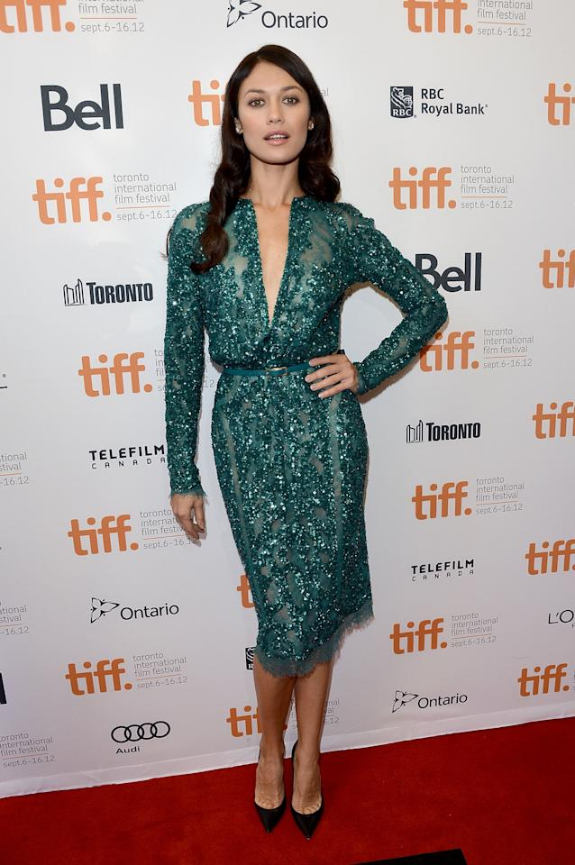 "BEST: McAdams' ""To The Wonder"" co-star Olga Kurylenko also impressed in a green dress, this one an Emilio Pucci creation that was open nearly down to her navel. It seems green was the thing on TIFF's Day 5."