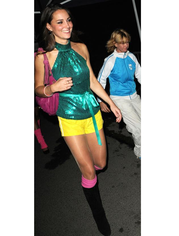 Kate Middleton photos: While most just dumped girls would sit at home with ice cream Kate donned her sexiest outfit to date. She wore hot pants with a halter neck that showed plenty of skin as she partied at a roller disco. We knew there were more reasons to admire her other than fashion.