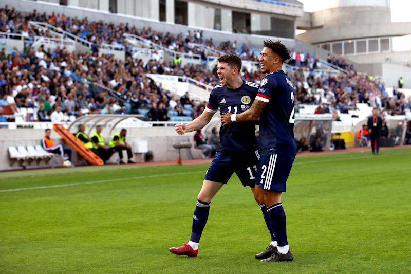 Scotland's Ryan Christie (left) celebrates scoring his first sides goal with Liam Palmer during the UEFA Euro 2020 Qualifying match at the GSP Stadium, Nicosia. PA Photo. Picture date: Saturday November 16, 2019. See PA story SOCCER Cyprus. Photo credit should read: Tim Goode/PA Wire. RESTRICTIONS: Use subject to restrictions. Editorial use only. Commercial use only with prior written consent of the Scottish FA. Call +44 (0)1158 447447 for further information.