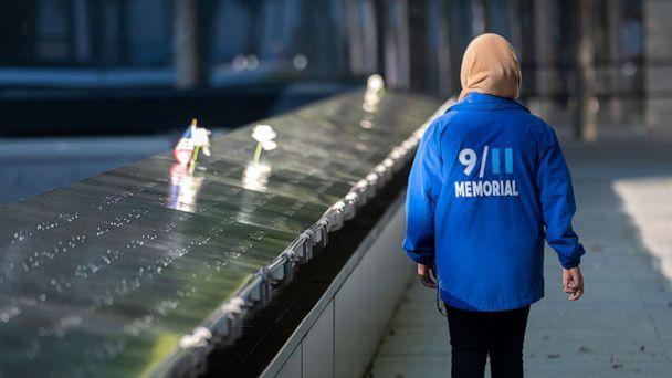 PHOTO: A person walks at the 9/11 Memorial & Museum in World Trade Center as the city continues Phase 4 of re-opening following restrictions imposed to slow the spread of coronavirus in New York, Sept. 30, 2020. (Noam Galai/Getty Images, FILE)