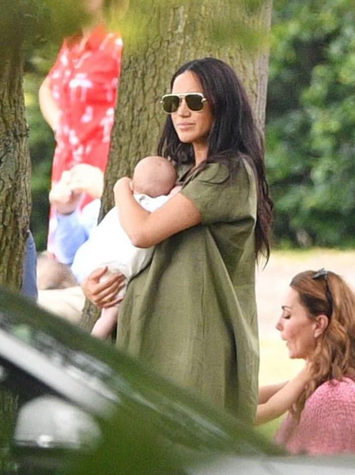 """<p>Meghan Markle and baby Archie cheered on Harry at <a href=""""https://people.com/royals/meghan-markle-kate-middleton-bring-kids-louis-archie-polo-match/"""">the King Power Royal Charity Polo Day</a> along with Kate, Prince George, Princess Charlotte, and Prince Louis. Meghan opted for a pair of oversized square-shaped aviator sunglasses with gold frames from <a href=""""http://prf.hn/click/camref:1011l5epj/pubref:PEO%2CMeghanMarkle%27sBestSunglasses%E2%80%94AndWheretoGettheLookforLess%2Ccwhitney%2CSty%2CGal%2C6666377%2C202003%2CI/destination:https%3A%2F%2Fwww.theoutnet.com%2Fen-us%2Fshop%2Fsearch%2Fstella%2520mccartney%2520sunglasses"""" target=""""_blank"""" rel=""""nofollow"""">Stella McCartney</a>.</p><p><strong>Get the Look!</strong></p><p>Quay Australia Vivienne 60mm Aviator Sunglasses, $60; <a href=""""https://click.linksynergy.com/deeplink?id=93xLBvPhAeE&mid=1237&murl=https%3A%2F%2Fshop.nordstrom.com%2Fs%2Fquay-australia-vivienne-60mm-aviator-sunglasses%2F5401664%2Ffull&u1=PEO%2CMeghanMarkle%27sBestSunglasses%E2%80%94AndWheretoGettheLookforLess%2Ccwhitney%2CSty%2CGal%2C6666377%2C202003%2CI"""" target=""""_blank"""" rel=""""nofollow"""">nordstrom.com</a></p><p>Jim Halo Retro Square Aviator Sunglasses, $21.99; <a href=""""https://www.amazon.com/Square-Aviator-Sunglasses-Premium-Eyewear/dp/B07BNCY4SB/ref=as_li_ss_tl?ie=UTF8&linkCode=ll1&tag=poamzfmeghanmarklesunglasseskphillips0320-20&linkId=d9b349fffc7551af7f39ec015080e85d&language=en_US"""">amazon.com</a></p><p>Tommy Hilfiger 55mm Aviator Sunglasses, $120; <a href=""""https://click.linksynergy.com/deeplink?id=93xLBvPhAeE&mid=1237&murl=https%3A%2F%2Fshop.nordstrom.com%2Fs%2Ftommy-hilfiger-55mm-aviator-sunglasses%2F5442931%2Ffull&u1=PEO%2CMeghanMarkle%27sBestSunglasses%E2%80%94AndWheretoGettheLookforLess%2Ccwhitney%2CSty%2CGal%2C6666377%2C202003%2CI"""" target=""""_blank"""" rel=""""nofollow"""">nordstrom.com</a></p><p>Ray-Ban RB3136 Caravan Square Sunglasses, $153; <a href=""""https://www.amazon.com/Ray-Ban-CARAVAN-ARISTA-CRYSTAL-Non-Polarized/dp/B000MUZ6VQ/ref=as_li_ss_tl?ie"""