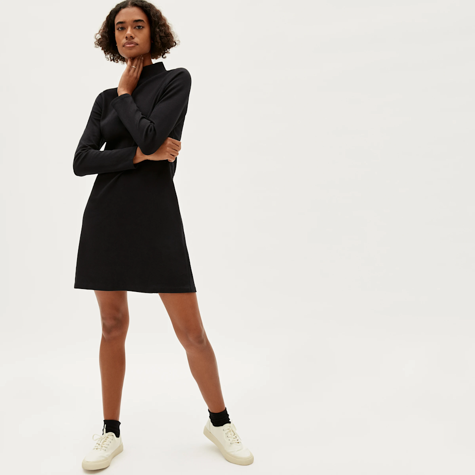 "<br><br><strong>Everlane</strong> The Cotton Mockneck Dress, $, available at <a href=""https://go.skimresources.com/?id=30283X879131&url=https%3A%2F%2Fwww.everlane.com%2Fproducts%2Fwomens-cotton-mockneck-dress-black"" rel=""nofollow noopener"" target=""_blank"" data-ylk=""slk:Everlane"" class=""link rapid-noclick-resp"">Everlane</a>"