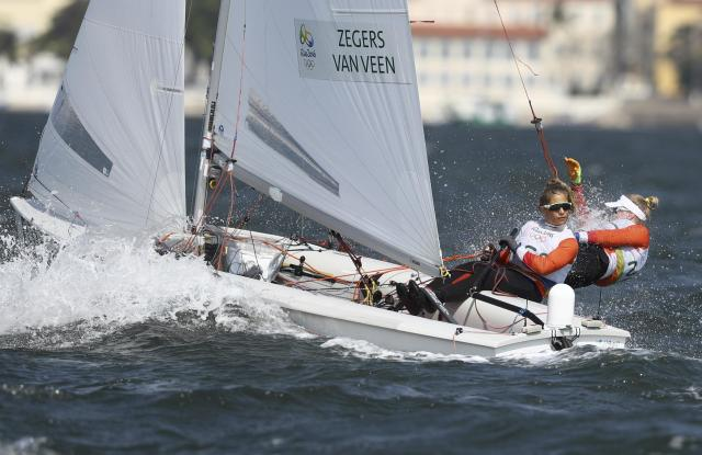 2016 Rio Olympics - Sailing - Final - Women's Two Person Dinghy - 470 - Medal Race - Marina de Gloria - Rio de Janeiro, Brazil - 18/08/2016. Afrodite Zegers-Kyranakou (NED) of Netherlands and Anneloes van Veen (NED) of Netherlands compete. REUTERS/Benoit Tessier FOR EDITORIAL USE ONLY. NOT FOR SALE FOR MARKETING OR ADVERTISING CAMPAIGNS.