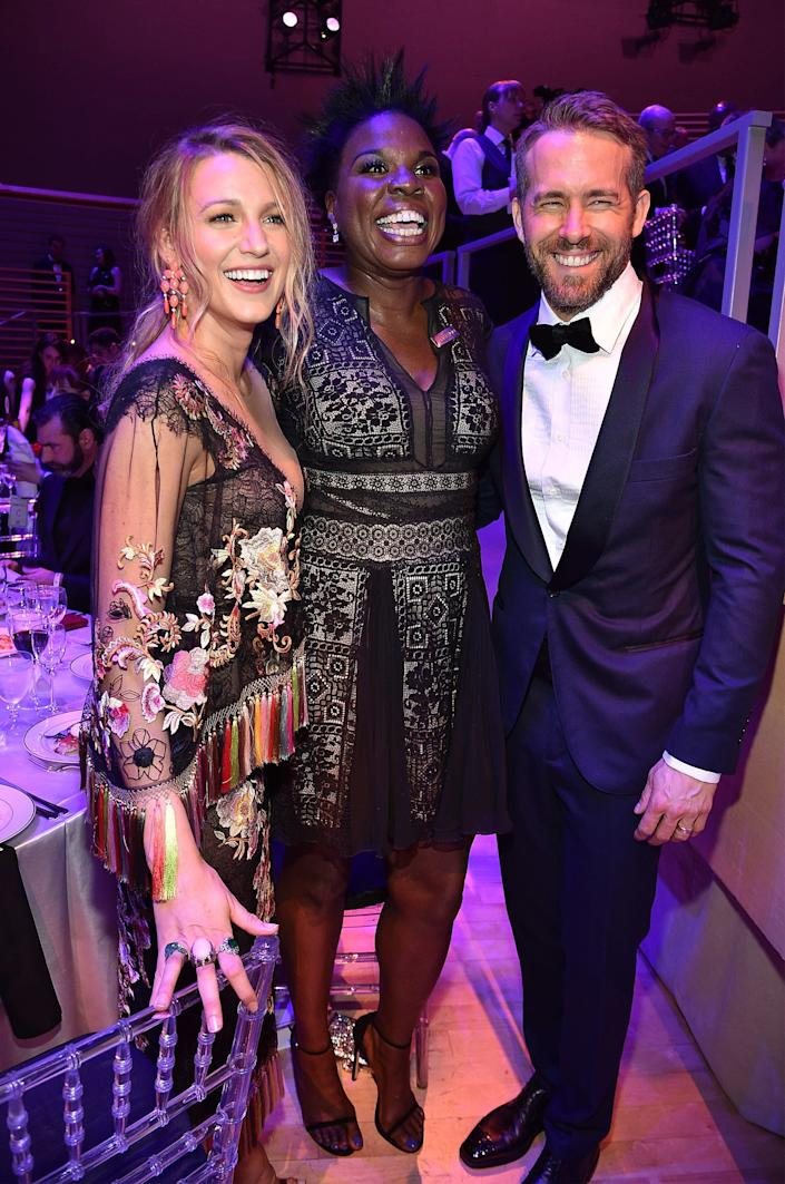 Blake Lively, Leslie Jones and Ryan Reynolds attend 2017 Time 100 Gala with drinks by Johnnie Walker at Jazz at Lincoln Center on April 25, 2017 in New York City.