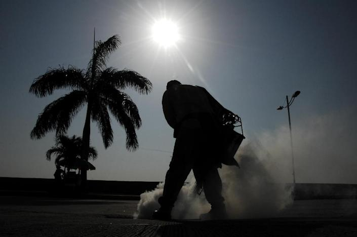 Health ministry workers fumigate against the Aedes aegypti mosquito in downtown Panama City (AFP Photo/Ed Grimaldo)