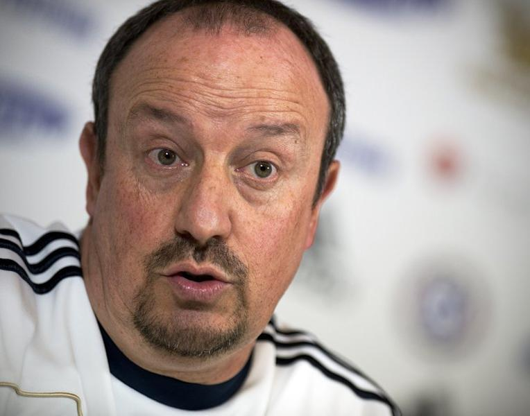 Chelsea's interim manager Rafael Benitez at a press conference at the club's training complex on December 18, 2012