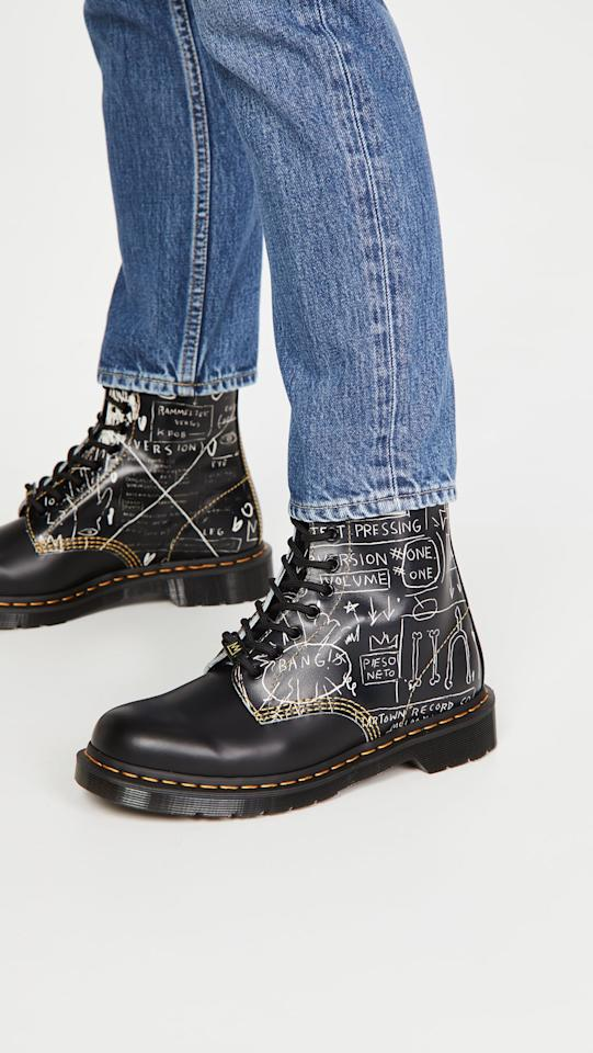 """<p>These <product href=""""https://www.shopbop.com/1460-basquiat-dr-martens/vp/v=1/1581404473.htm?folderID=13460&amp;fm=other-shopbysize-viewall&amp;os=false&amp;colorId=1138B&amp;ref_=SB_PLP_NB_12"""" target=""""_blank"""" class=""""ga-track"""" data-ga-category=""""internal click"""" data-ga-label=""""https://www.shopbop.com/1460-basquiat-dr-martens/vp/v=1/1581404473.htm?folderID=13460&amp;fm=other-shopbysize-viewall&amp;os=false&amp;colorId=1138B&amp;ref_=SB_PLP_NB_12"""" data-ga-action=""""body text link"""">Dr. Martens 1460 Basquiat Boots</product> ($160) are about as cool as it gets; add them to your cart before we beat you to it.</p>"""