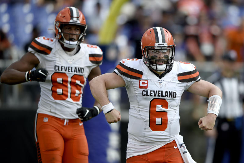 Cleveland Browns quarterback Baker Mayfield (6) gestures after a play against the Baltimore Ravens during the second half of an NFL football game Sunday, Sept. 29, 2019, in Baltimore. The Browns won 40-25. (AP Photo/Gail Burton)