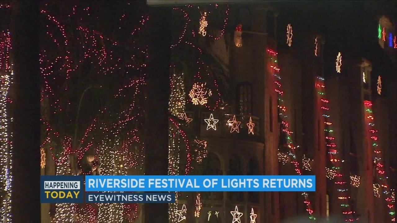 The Mission Inn's Festival of Lights returned to Riverside with a fireworks show, military flyover and live entertainment.