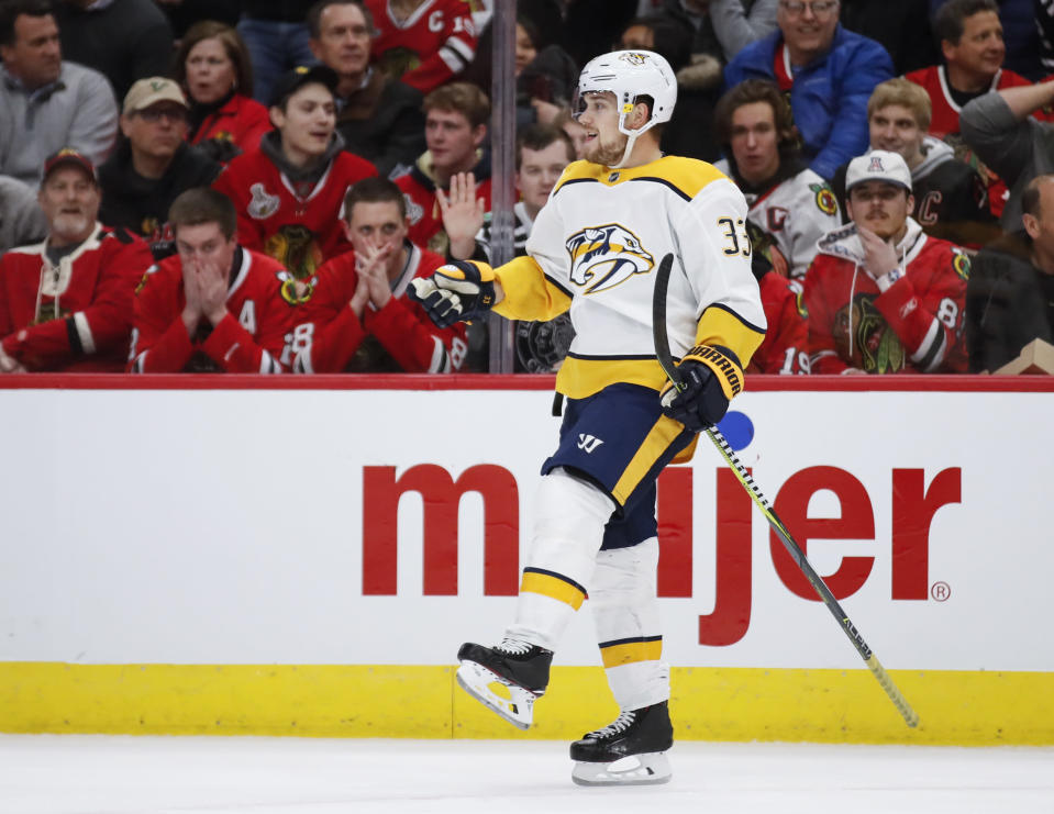 Nashville Predators right wing Viktor Arvidsson celebrates after scoring against the Chicago Blackhawks during the first period of an NHL hockey game Wednesday, Jan. 9, 2019, in Chicago. (AP Photo/Kamil Krzaczynski)