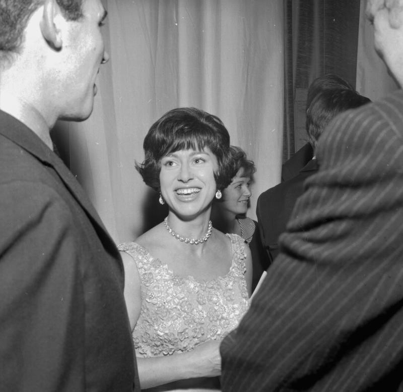Princess Margaret talking to actors as she visits the Royal Court Theatre, after watching the play 'Inadmissible Evidence', London, October 5th 1964. (Photo by Express/Getty Images)