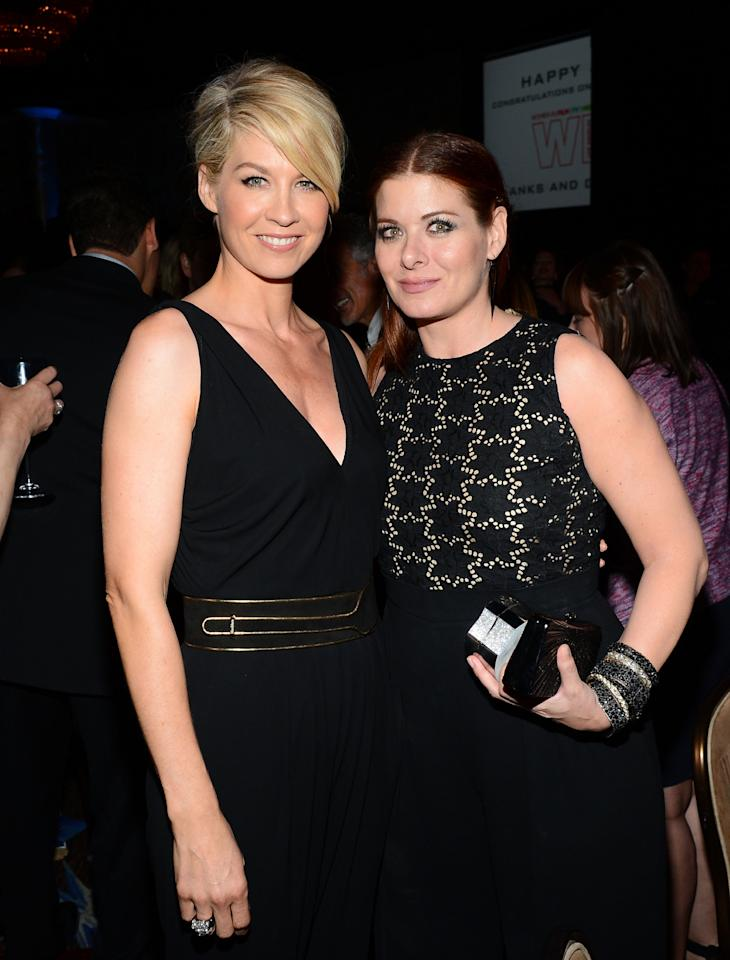 BEVERLY HILLS, CA - JUNE 12: Host Jenna Elfman (L) and actress Debra Messing pose backstage at Women In Film's 2013 Crystal + Lucy Awards at The Beverly Hilton Hotel on June 12, 2013 in Beverly Hills, California. (Photo by Mark Davis/Getty Images for Women In Film)