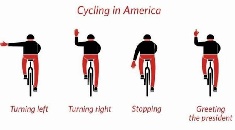 Someone posted this graphic on Juli Briskman's Facebook page after she flipped off the president's motorcade. Briskman was amused.